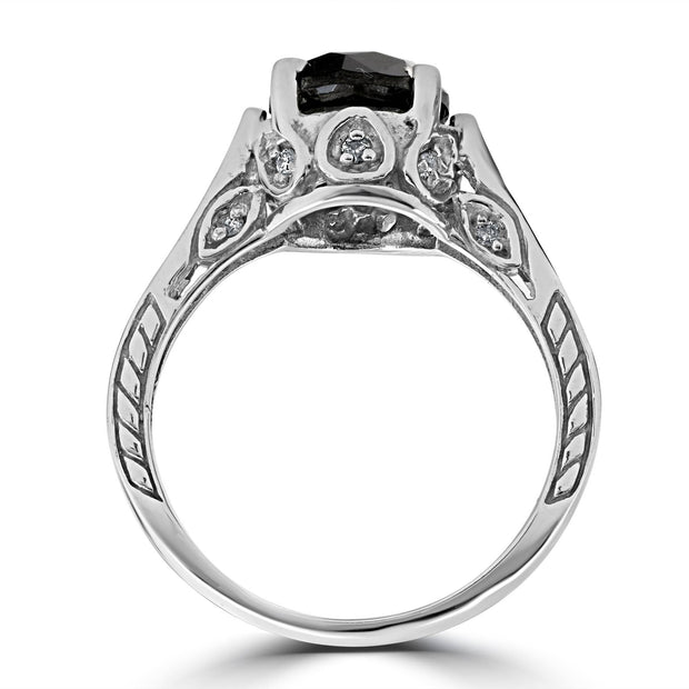 2 1/3ct Treated Black & White Vintage Diamond Engagement Ring 14K White Gold