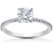 F/SI 1 ct Lab Grown Diamond Engagement Ring 14k White Gold EX3