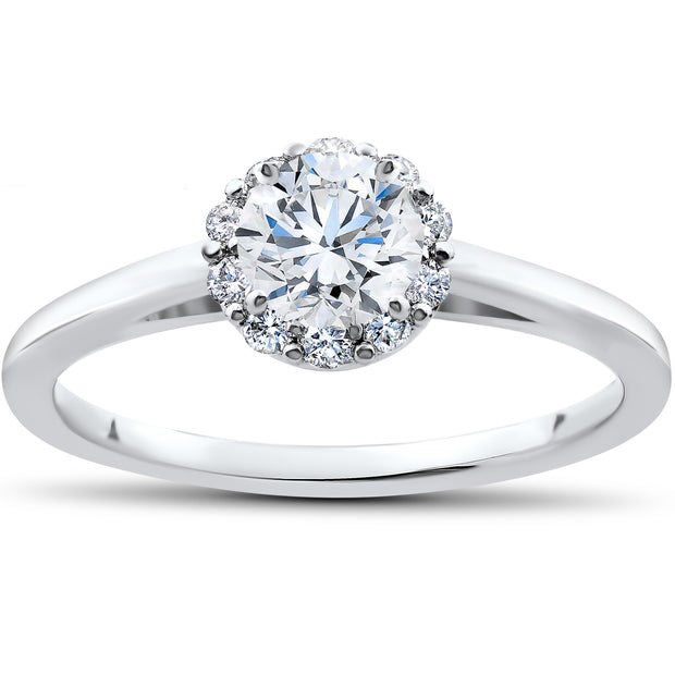 3/4ct Lab Grown Eco Friendly Diamond Madelyn Halo Engagement Ring 14k White Gold