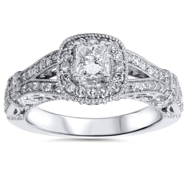 1ct Princess Cut Diamond Vintage Halo Engagement Ring 14K White Gold