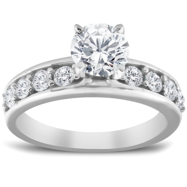 SI/G 2 Ct Round Cut Diamond Engagement Solitaire Ring 14k White Gold Enhanced