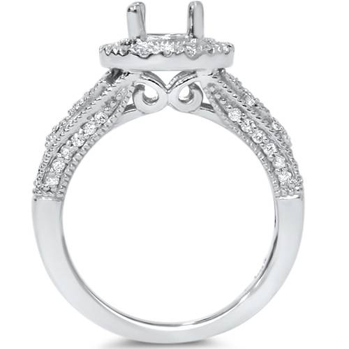 3/8ct Round Halo Vintage Diamond Engagement Ring Setting
