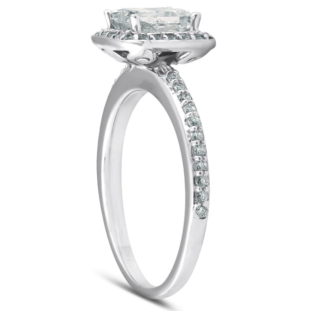 G/SI 1.10 Princess Cut Enhanced Diamond Engagement Halo Ring 14k White Gold