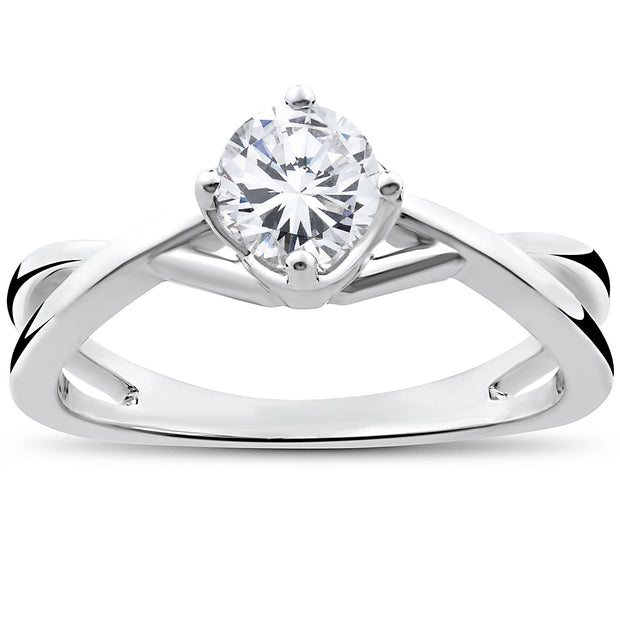 1/2 Ct Round Solitaire Genuine Diamond Vintage Engagement Ring 14K White Gold