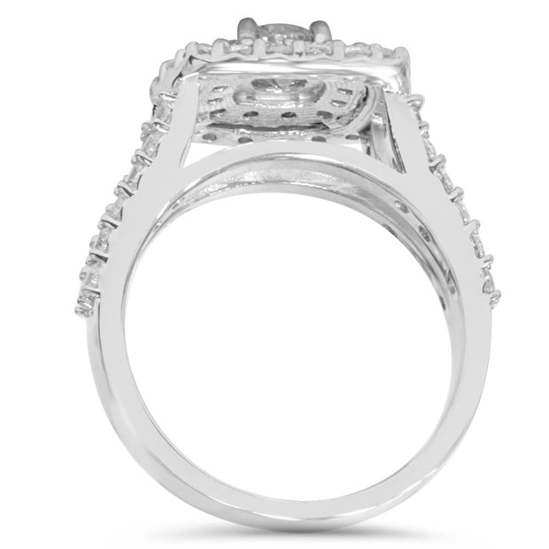 2 Carat Diamond Cushion Halo Engagement Wedding Ring Set White Gold