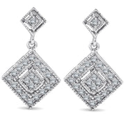 1/2ct Princess Cut Dangle Diamond Earrings Solid 10K White Gold