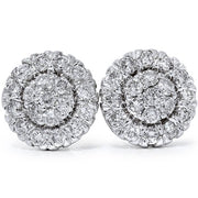 VS Women's 7/8ct Pave Lab Created Diamond Studs Earrings Solid 14k White Gold