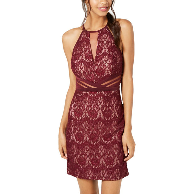 Womens Lace Illusion Party Dress