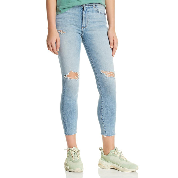 Womens Ripped High Rise Cropped Jeans