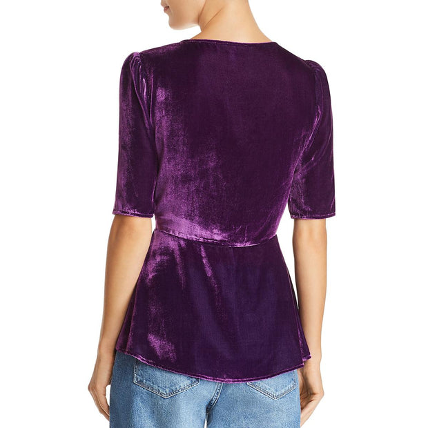 Becca Womens Velvet Ruched Blouse