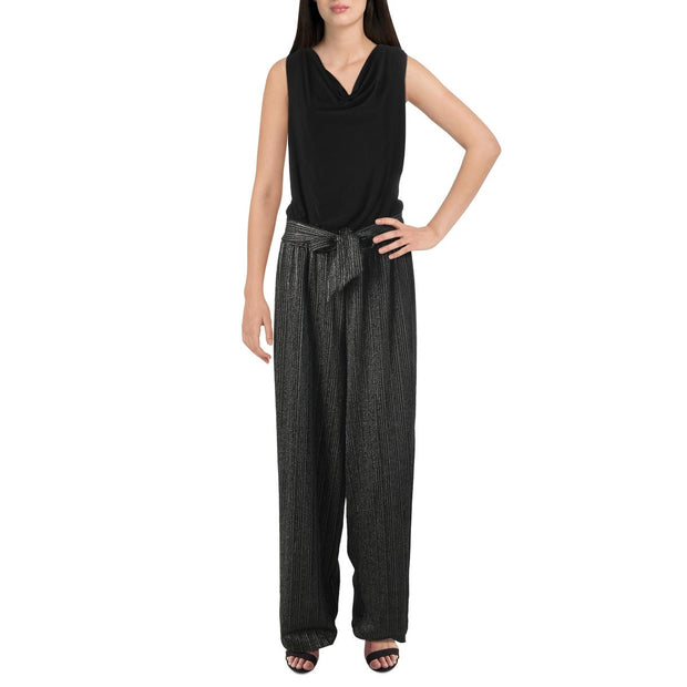 Womens Metallic Belted Jumpsuit