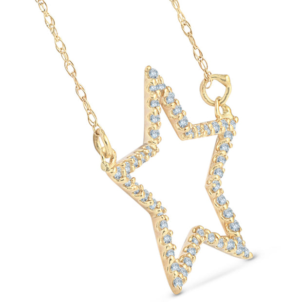 14k Yellow Gold 1/4Ct Diamond Star Pendant Necklace