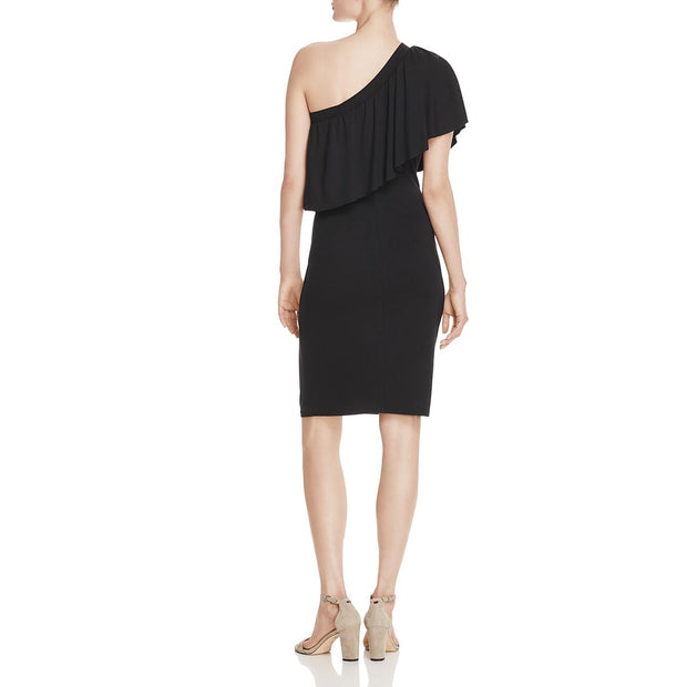 Three Dots Womens Ruffled One Shoulder Cocktail Dress