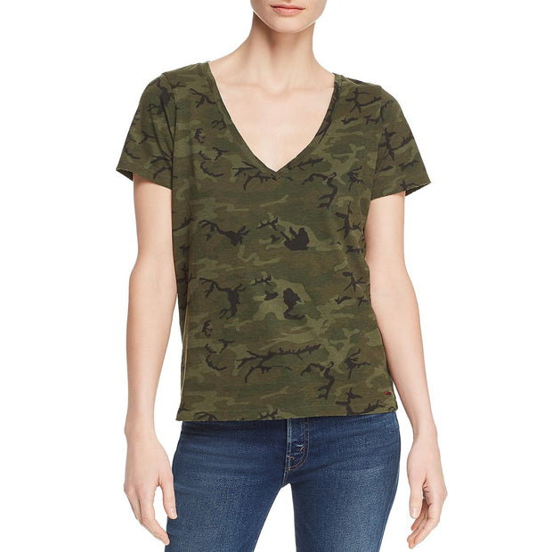 Womens Camouflage V Neck Top
