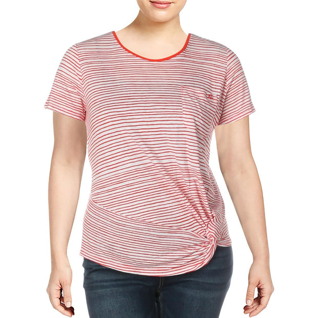 Daharlyn Womens Striped Side Twist T-Shirt