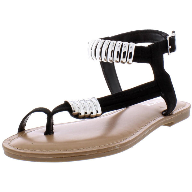 Vella Womens Faux Sued Toe Flat Sandals