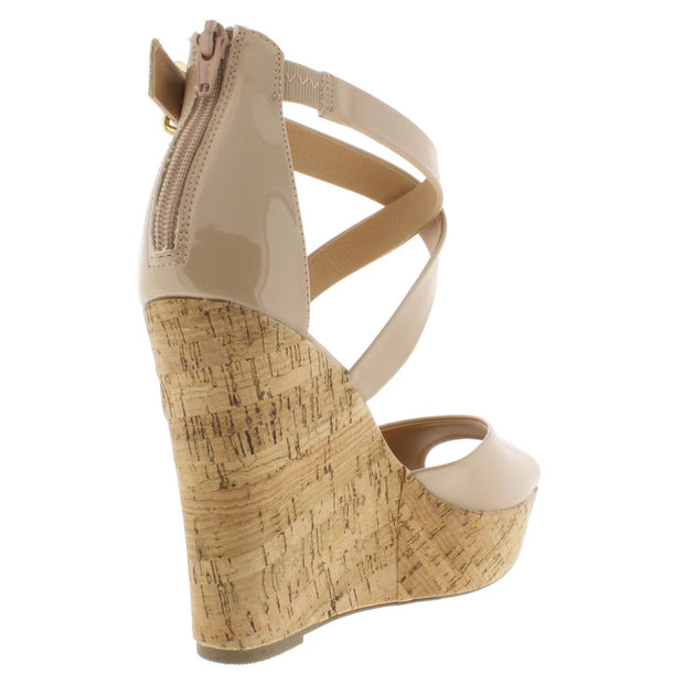 Steffy Womens Patent Cork Wedge Sandals
