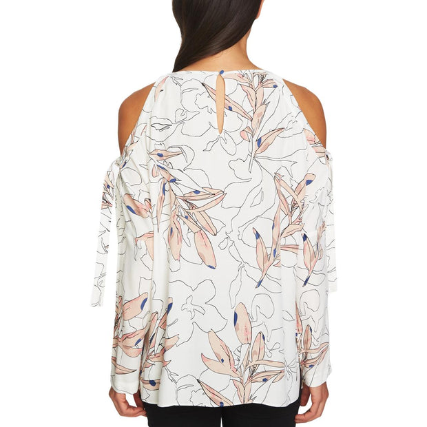 Womens Cold Shoulder Printed Pullover Top