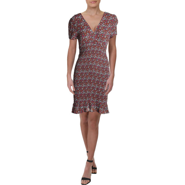 Womens Floral Smocked Wrap Dress