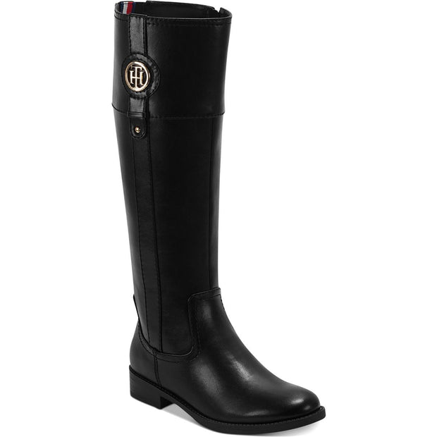 Tommy Hilfiger Womens Imina Faux Leather Knee-High Riding Boots