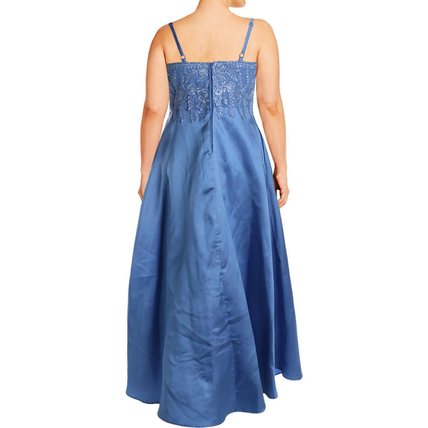 City Studio Womens Plus Rhinestone Embroidered Formal Dress