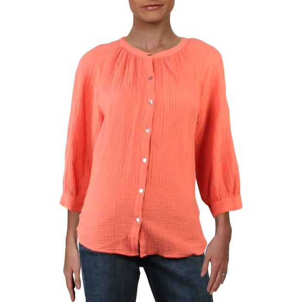 Womens Cotton Puff Sleeve Blouse