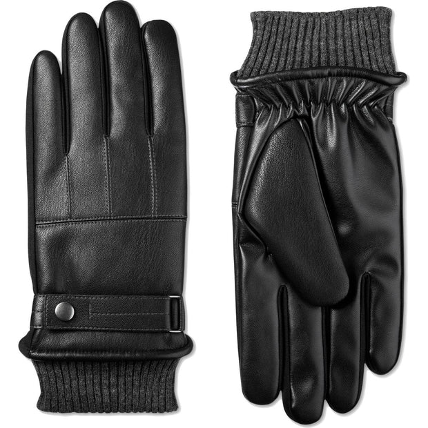 Mens Faux Leather Fleece Lined Winter Gloves