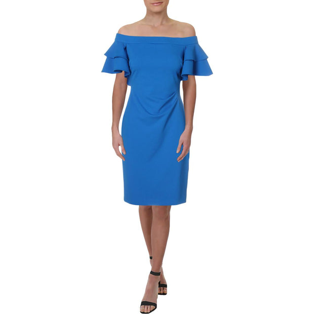 Lauren Ralph Lauren Womens Veroda Off-The-Shoulder Tiered Cocktail Dress