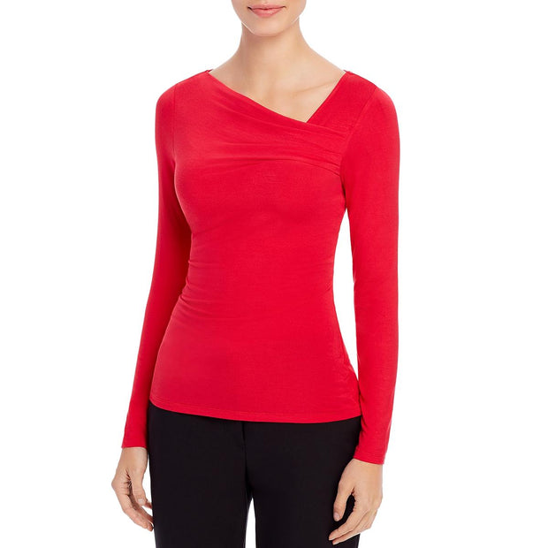 Donna Karan Womens Asymmetric Neck Long Sleeves Blouse