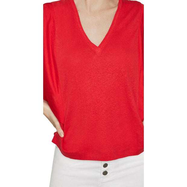 Womens Linen Blend Draped Pullover Top