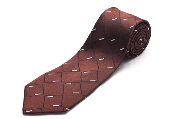 Luciano Barbera Men Slim Silk Neck Tie Geometric Brown