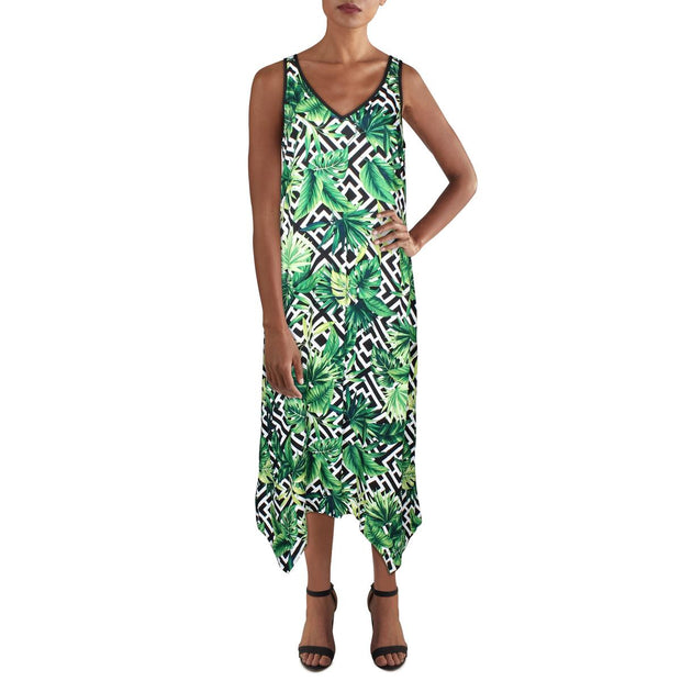 Womens Printed Asymmeric Midi Dress