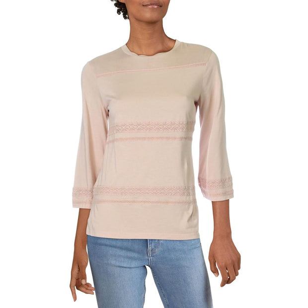 Akeem Womens Cotton Lace Trim Pullover Top