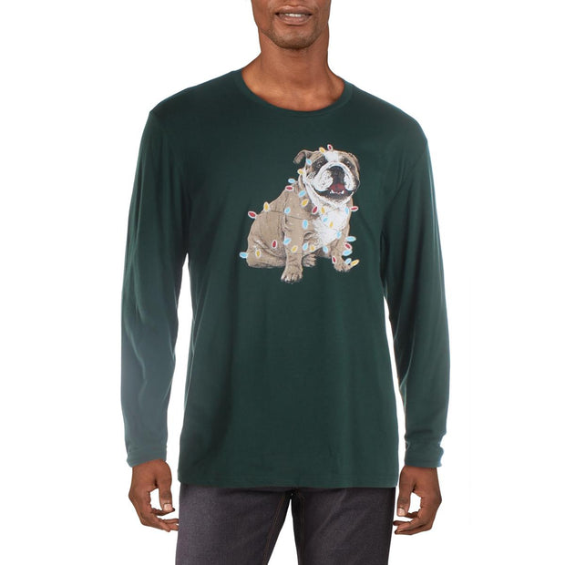 Club Room Mens Christmas Bulldog Graphic Holiday T-Shirt
