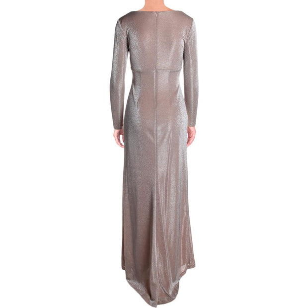 Vince Camuto Womens Shimmer Surplice Evening Dress
