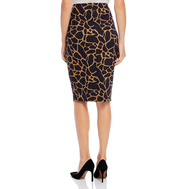 Donna Karan Womens Giraffe Print Knee-Length Pencil Skirt