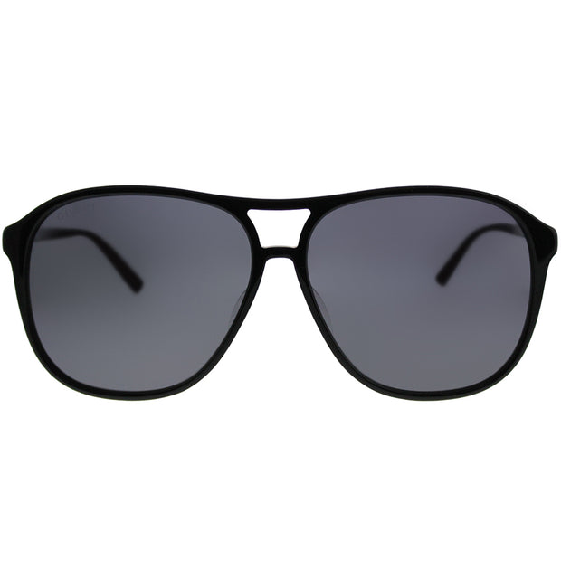 Gucci Aviator GG 0016SA Asian Fit 001 Unisex Black Frame Silver Mirror Lens Sunglasses