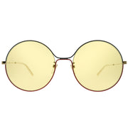 Gucci Round GG 0395S 005 Women Green Red Gold Frame Light Brown Lens Sunglasses