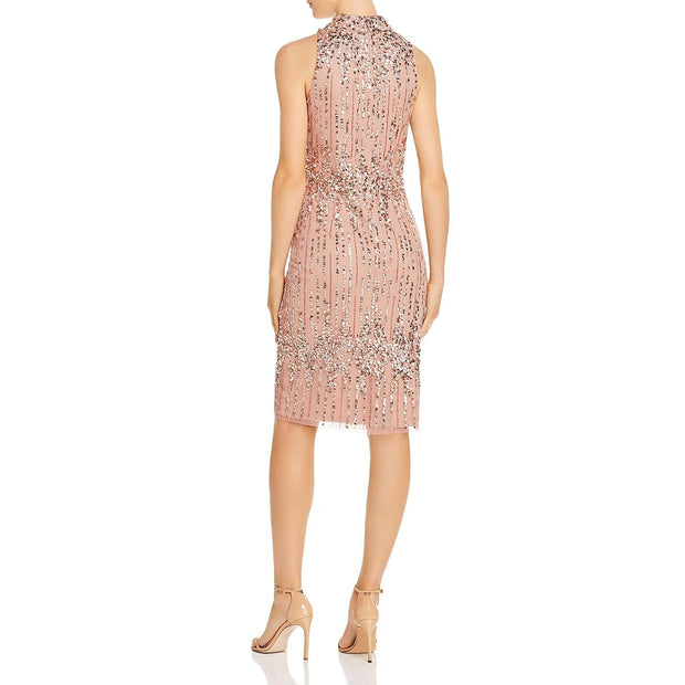 Womens Mesh Halter Cocktail Dress