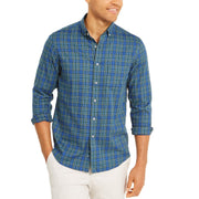 Mens Plaid Moisture Wicking Button-Down Shirt