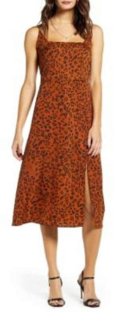 ROW A Women's Square Neck Leopard Print Midi Dress - Size X-Large | Cinammon Black