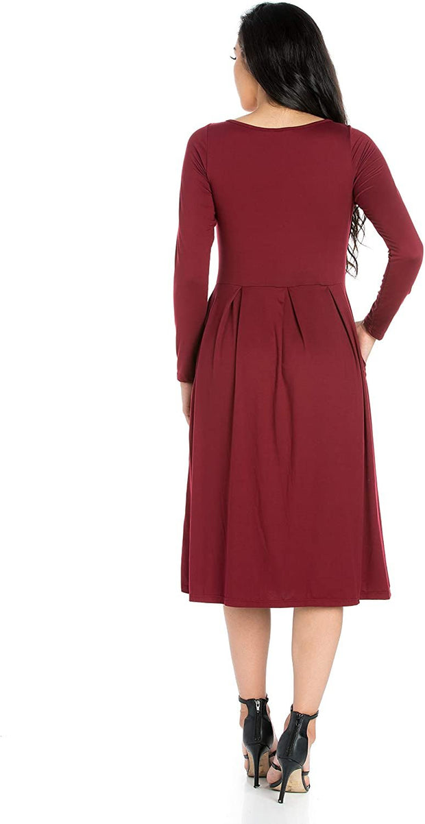 24seven Comfort Apparel Women's Clothes Long Sleeve Fit and Flare Midi Dress with Pockets - Made in USA - Large - Black
