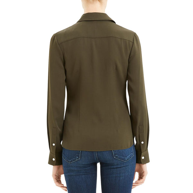 Theory Womens Silk Business Fitted Top