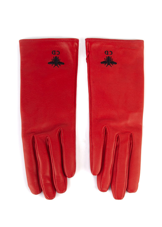 Dior Womens Red Leather Bee Logo Gloves