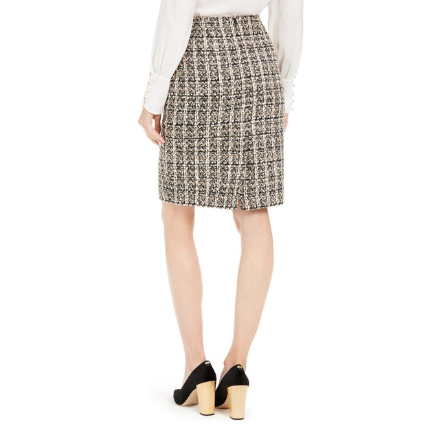 Calvin Klein Womens Plaid Sequined Straight Skirt