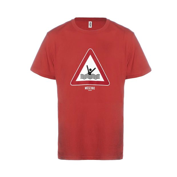 MOSCHINO Swim Men's Graphic T-Shirt Cotton Triangle Red