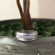 Mens 1/4ct White Gold 7 Stone Diamond Ring 10k Polished Wedding Anniversary Band