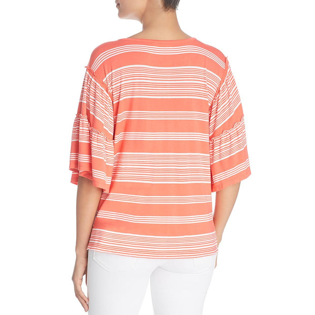 Womens Striped Short Sleeves Blouse