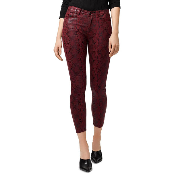 Womens Animal Print Coated Skinny Jeans