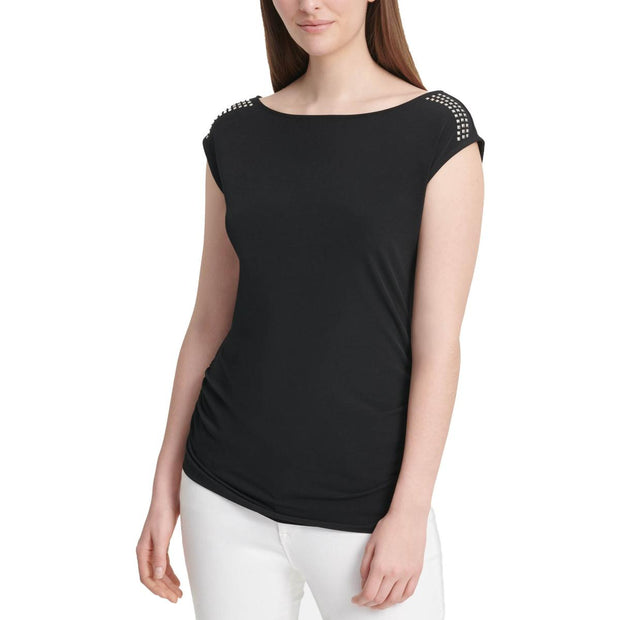 Womens Studded Ruched Top